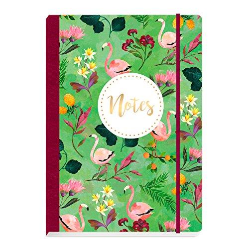 Notitzheft, Notizbuch gebunden mit Gummiband, blanko, 160 Seiten, mit Flamingos und Blumen auf dem Cover, Soft cover, bunt, grün, rosa, rot, gelb