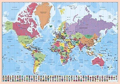 Grupo Erik Vade world map -Tapete escritorio/escolar multifuncional, Protector escritorio editado en Inglés