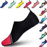 BIGU Chaussettes de Sport Aquatique de Nager de Surf de Yoga et de Plage Pieds Nus à Séchage Rapide pour Enfants Hommes Femmes - Épissure Rose - Taille 28/29 EU