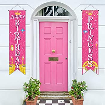Sumind Princess Decorations Royal Check Flag Event Birthday Banner Princess Sign Porch Sign Welcome for Girl Birthday Theme Party Mardi Gras Parade Decoration Pink