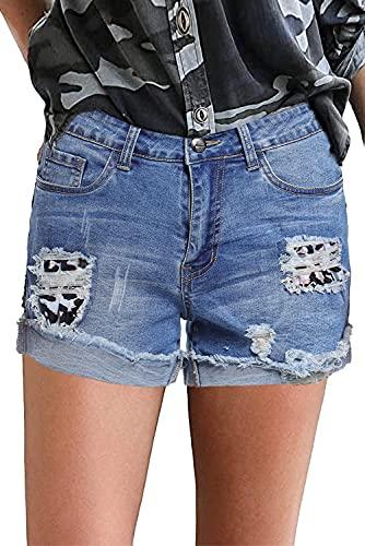 FANGJIN Damen Jeans Stretch Damen Hosen Hot Pants Sommerhosen Stoffhose Lässige Kurze Hose Damen Jeans Leopard S(34 36)