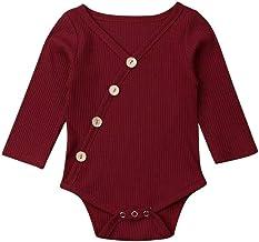 TWIFER Ropa Bebé Niñas Niños Manga Larga Mezcla de algodón Bebé Body Traje Color sólido Lindo Ocio Verano 0-24 Meses CóModo