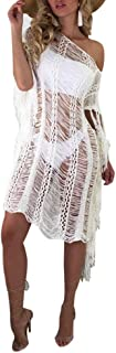 Mintsnow Women Mesh See Through Dress Off Shoulder Hollow Out Beach Bikni Cover up Dress