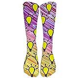 Calcetines deportivos unisex con patrón de bombillas amarillas para pantorrilla, talla 6-10