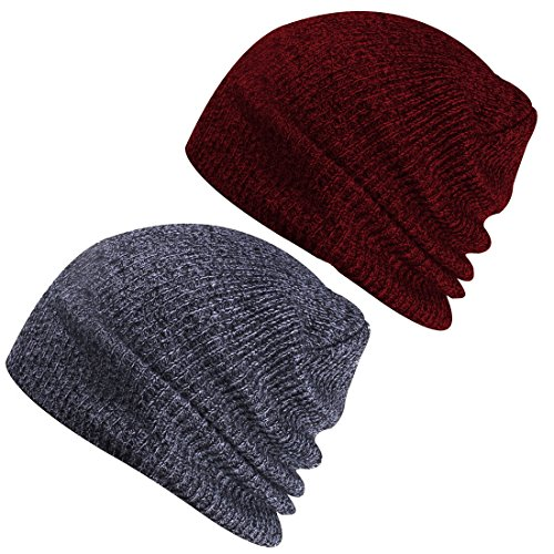 Paladoo Slouchy Winter Hats Knitted Beanie Caps Soft Warm Ski Hat (Dark Grey+Burgundy)