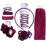24x piezas Niñas Escuela accesorios para el pelo–Bumper pack–burdeos