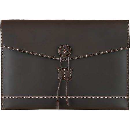 Leathario Bolso de Mano Cuero Vintage Portafolio Funda para A4 Documentos Archivo Organizador Sobre de Trabajo Portátil de 9.7 Pulgadas (Café 07)