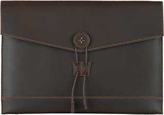Leathario Bolso de Mano Cuero Vintage Portafolio Funda para A4 Documentos Archivo Organizador Sobre de Trabajo Portátil de...