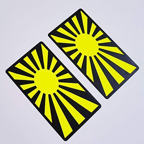 folien-zentrum 2 x Japón Bandera Neon Amarillo Negro Pegatinas Shocker Mano Auto JDM Tuning OEM Dub Decal Stickerbomb Bombing Sticker Illest Dapper Fun Oldschool