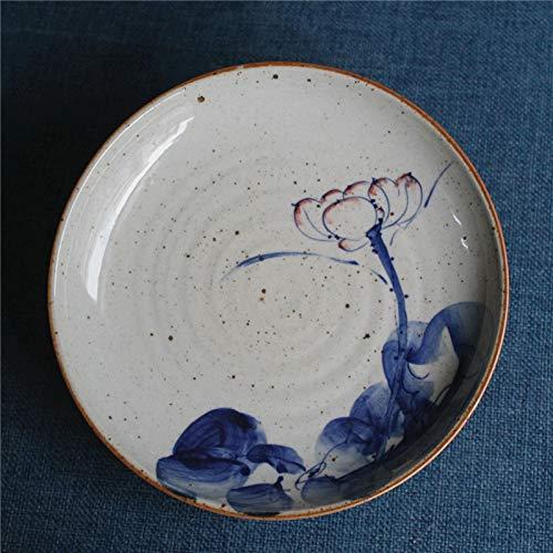 YUWANW Farbglasurplatte, Tonschlamm, Uriger Esstisch, Japanische Kochplatte, Obstteller, Steakplatte, Pastateller, Hochtemperaturgeschirr, Pockmark Lotus