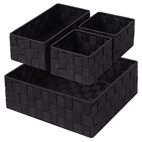 Posprica Woven Storage Box Cube Basket Bin Container Tote Organizer Divider for DrawerClosetShelf DresserSet of 4 Black