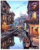 Paint by Numbers Kit for Adults, Romantic Venice Night View Pre Printed Canvas to Paint with Paint Brushes DIY Paintwork Drawing Art - Home Wall Decor Christmas Choice -16x20 inches(No Frame)