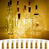 Wine Bottle Lights with Cork, SEEOU 10 Pack Battery Operated Cork Shape Sliver Copper Wire Fairy String for DIY, Party, Décor, Christmas, Halloween, Wedding (3.3ft/1m 20 LED Warm White)