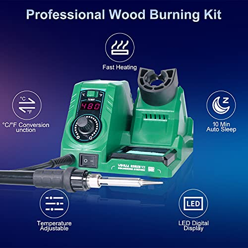 Wood Burning Kit, 82PC Upgraded 60W Digital Wood Burning Tool with Auto Sleep and ℃/℉ Switch, Wood Burner Tool with Adjustable Temperature 392℉-896℉ for Embossing/Carving/Soldering