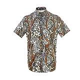 MCULIVOD Mens Snakeskin Leopard Print Short Sleeve Shirts Iron Chain Casual Button Down Hawaiian Shirt