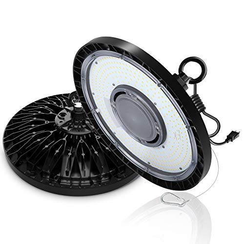 EHH UFO Led High Bay Light 100W 5000K 14000Lm(140Lm/W) 1-10V Dimmable 100-277V AC IP65 Waterproof UL/DLC Approved for Warehouses, Workshops, Factories, Stadiums, Supermarkets