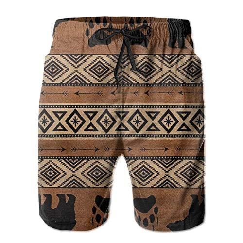 QUEMIN Summer Bear Imprint Brown Mens Costumi da Bagno Trunks, Pantaloncini ad Asciugatura Rapida Costumi da Bagno con Fodera in Rete, (Taglia XXL)