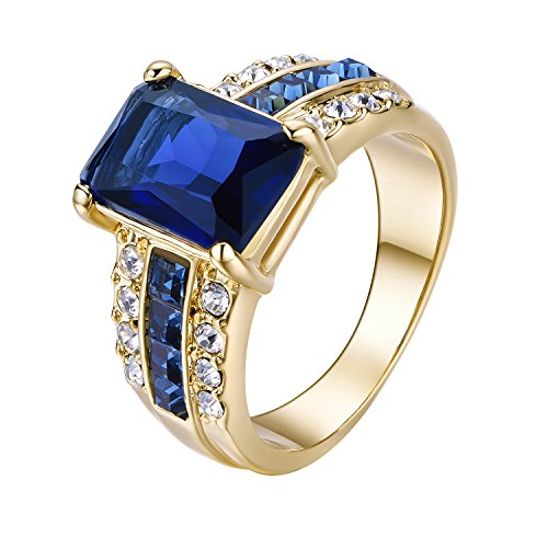 Yoursfs Square Saphire Statement Cocktail Ring 18ct Rose Gold Plated Gorgeous Tanzanite Cushion Cut Navy Sapphire Blue Diamond Rings for Women Fashion Jewellery