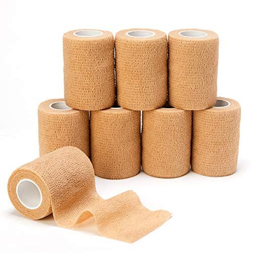 Venda Autoadhesiva (7.5cm X4.5m), 8 rollos de Vendas Elásticas Adhesivas Sanitarias para Primero Auxilios, Deportes, Muñeca y Tobillo (7.5cm, Beige)