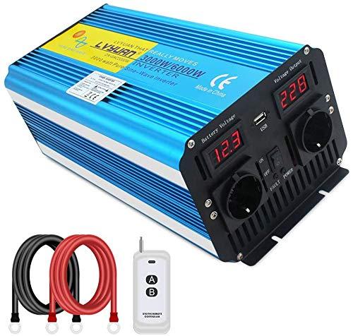 Yinleader Inversor de corriente (3000 W, 12 V, 230 V, con mando a distancia, 2 ledes, 2 enchufes y USB), 6000 W