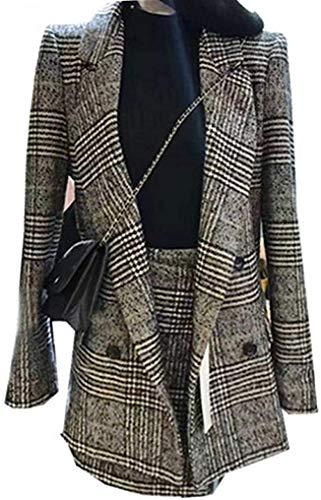 Kantoor Lady Casual Plaid Tweed Lange Mouwen Dubbele Breasted Jas Blazer Vrouwen Elegante Mini Rok Pak 2 Stuk Set