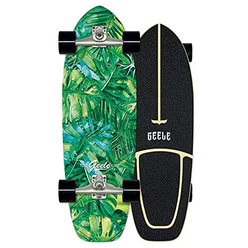 Surfskate Skateboard Pumpping Carving Completo arce tablero 78×24cm, Rodamientos de Bolas ABEC-11 Alta velicidad, 7 capas arce duro, carga de hasta 150 kg, para principiantes y profesionales,VOMI,B