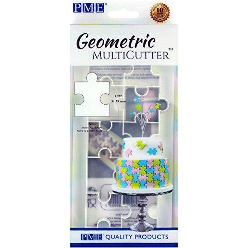 PME GMC153 Multicortador geométrico para diseño de Tartas, Puzzle, tamaño Grande, 3,8 cm, Color Blanco