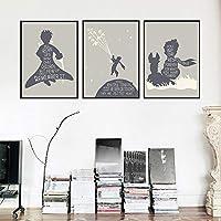 リトルプリンスウォールアート映画引用ポスターとプリント北欧の子供保育室の家の装飾キャンバス絵画| 30X50cmx3Pcs /フレームなし