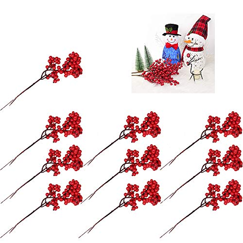 yyuezhi 10 Stücke künstlicher Beerenzweig Früchte Künstliche Christmas Frucht Beere Weihnachten Beere Künstliche Rot Holly Beeren DIY Dekoration für Weihnachtsbaum Ornamente Weihnachtsdeko