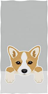 Naanle Cute Cartoon Welsh Corgi Dog Print Soft Absorbent Guest Hand Towels for Bathroom, Hotel, Gym and Spa (16 x 30 Inches,Gray)