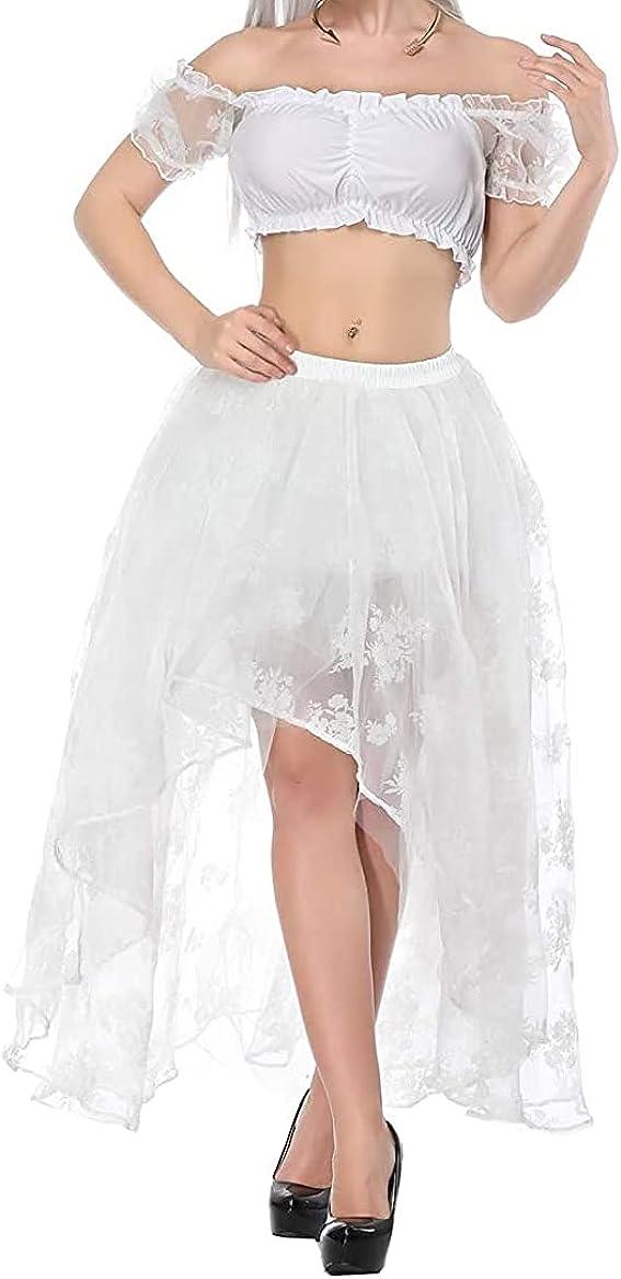 Women High Low Skirt Tutu Maxi Cocktail Skirt Tulle Ruffle Mesh Lace Irregular Hem Long Skirt Wedding Party
