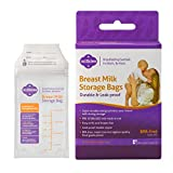 Milkies Breastmilk Storage Bags, Pre-Sealed & Ready to Use Plastic Bags for Storing & Freezing Breast Milk, Double Zipper & Reinforced Sides, Use with Milkies Freeze Organizer, Holds 7oz, 50 Count