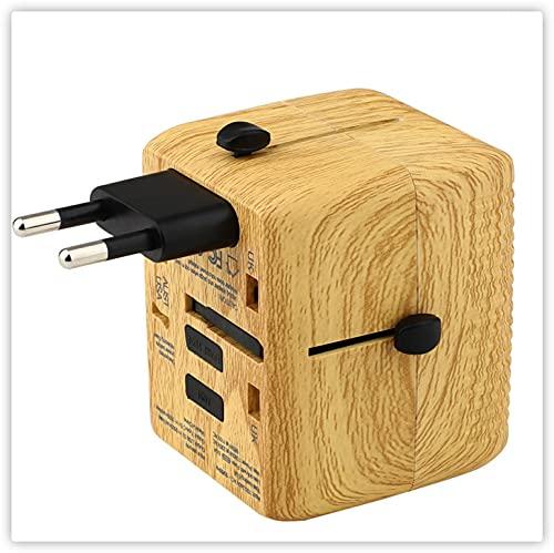AdaptadorEnchufeUniversal AdaptadorDeViaje Grano De Madera USB*3+Type-C