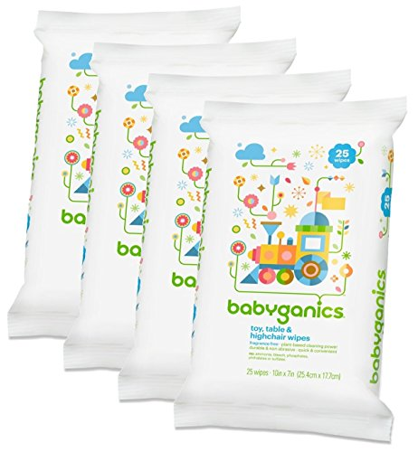 Babyganics Toy, Table & Highchair Wipes, 25 Count, 4 Pack