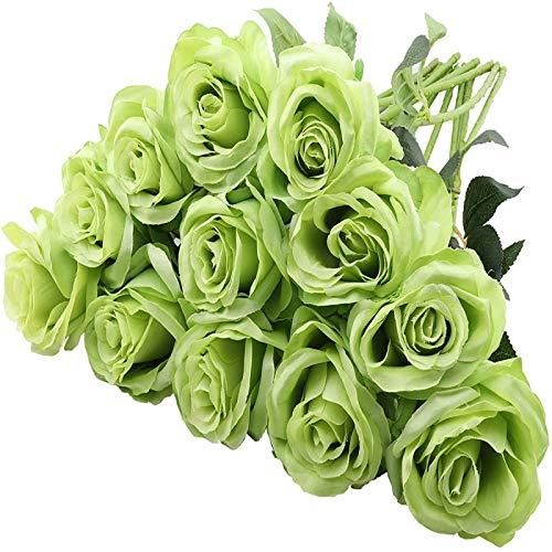 YYHMKB 12 Piezas de Rosas Artificiales, 19,7 Pulgadas de un Solo Tallo Largo, Flores de Seda, Ramo de Rosas realistas para la decoración de la Oficina del Banquete de Boda en casa, Verde