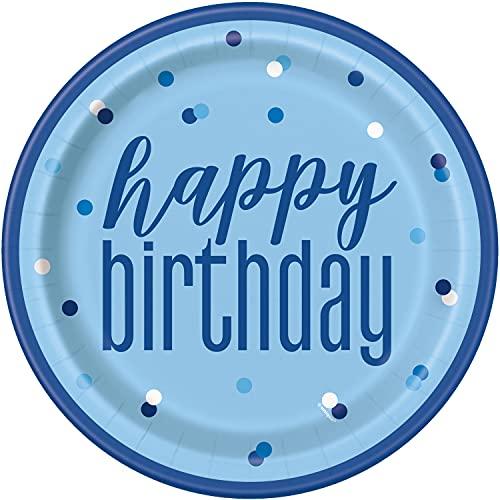 Unique Party- Platos de Papel Ecológicos-23 cm-Fiesta de cumpleaños Azul y Plateada Glitz-Paquete de 8, Multicolor (83597EU)