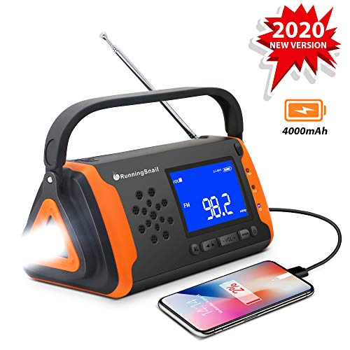 RunningSnail Solar-Radio,Notfallradio,Handkurbel,Telefon-Ladegerät mit LED-Taschenlampe, 4000 mAh Powerbank und SOS-Alarm für den Notfall für Camping, Wandern (orange)