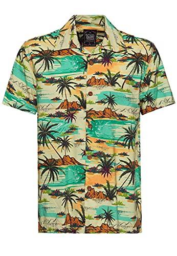 King Kerosin Camisa de manga corta para hombre   Camisa hawaiana   Corte recto   Camisa de verano   estampado de palmeras tropical Sea multicolor S