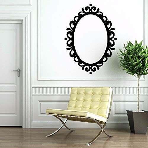 Spiegel Vinyl Sticker Afneembaar Beeld Ovaal Spiegel Decoratie Moderne Klassieke Vinyl Muur Art Mural Spiegel Decal 57 * 77cm