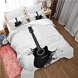 GenericBrands Juego de Cama de 3 Piezas Guitarra Ink Rock - 180x210cm Funda Edredón con Cremallera de Cama de Microfibra Suave y Transpirable Funda con 2 Fundas de Almohada