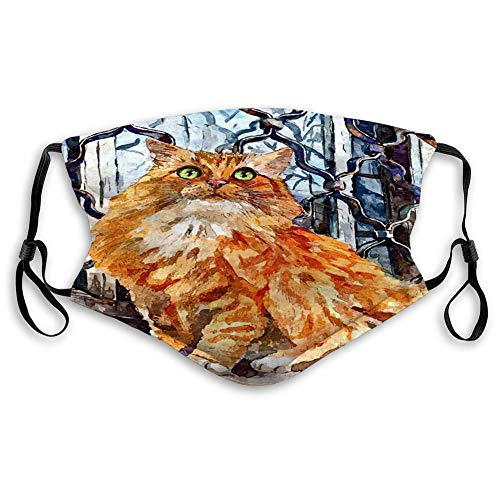 Xunulyn Reusable Outdoor Mouth Cover Fluffy Maine Coon cat Portrait Painting Wet wat Travel Cover