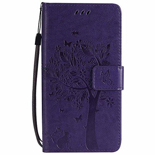 C-Super Mall-UK® Wiko Leny 4 Hülle, Prägung Baum Katze Schmetterling Muster PU Leder Brieftasche Ständer Flip Schutzhülle für Wiko Leny 4-Lila