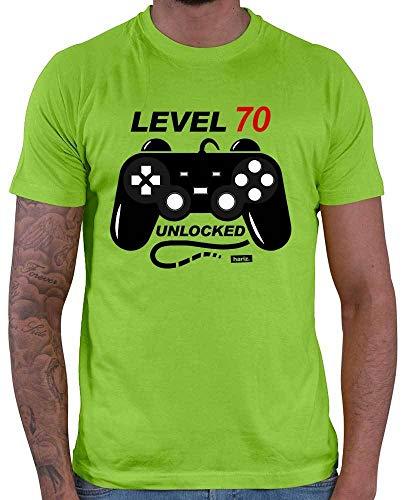 Hariz – Camiseta de hombre Level 70 Unlocked 70 Cumpleaños, serigrafía, más tarjetas de regalo
