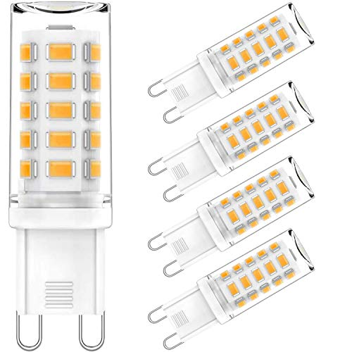 AGOTD 5 Pack 4W G9 LED Lamp, 400 Lumens, 2700k Warm White No Flickering LED Bulbs, Replacement 40W G9 Halogen Bulb, Non Dimmable 360 Degree Angle