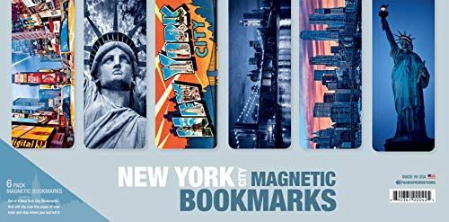 Set Of 6 Large New York Magnetic Bookmarks With 'Soft Touch' Silky Smooth Coating. Made In USA