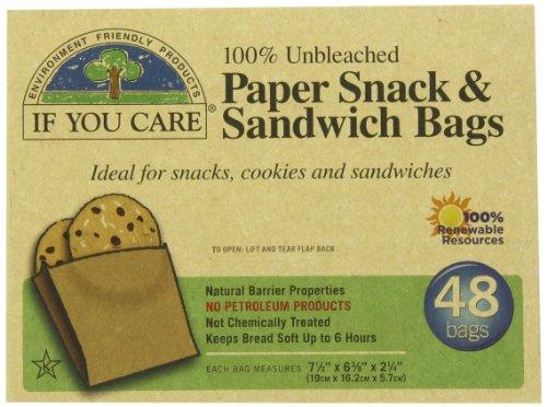 48 bolsas de papel para aperitivos y sándwiches de If You Care (paquete de 6, 288 bolsas en total)