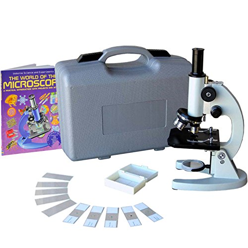 AmScope M60C-ABS-PB10-WM Beginner Microscope Kit, Mirror Illumination, WF10x and WF20x Eyepieces, 40x-1000x Magnification, Includes Case, 5 Blank Slides, 5 Prepared Slides, and Book