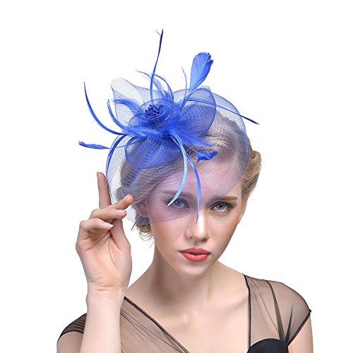 Ssowun Fletion Retro Fascia Piuma Cappello Fiore Cappelli Cerimonia Donna Berretto di Garza Accessori per Capelli da Sposa per Banchetti