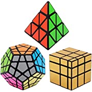 Vdealen Noir Magic Dodecahedron Megaminx + 3 x 3 x 3 Pyramid + 3 x 3 Gold Spiegel Puzzle Cube, Silberpack