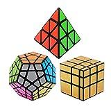 Vdealen Negro Magic Dodecahedron Megaminx + 3x 3x 3Pyramid + 3x 3Color Dorado...
